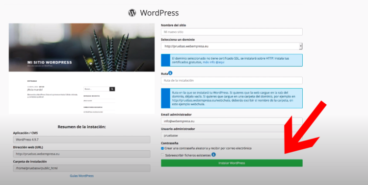 instalar wordpress en webempresa